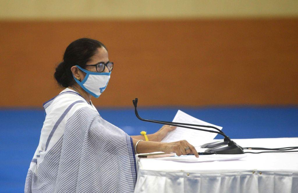 Howrah: West Bengal Chief Minister Mamata Banerjee addresses a press meet at Nabanna in Howrah on July 8, 2020. (Photo: IANS) - Mamata Banerjee