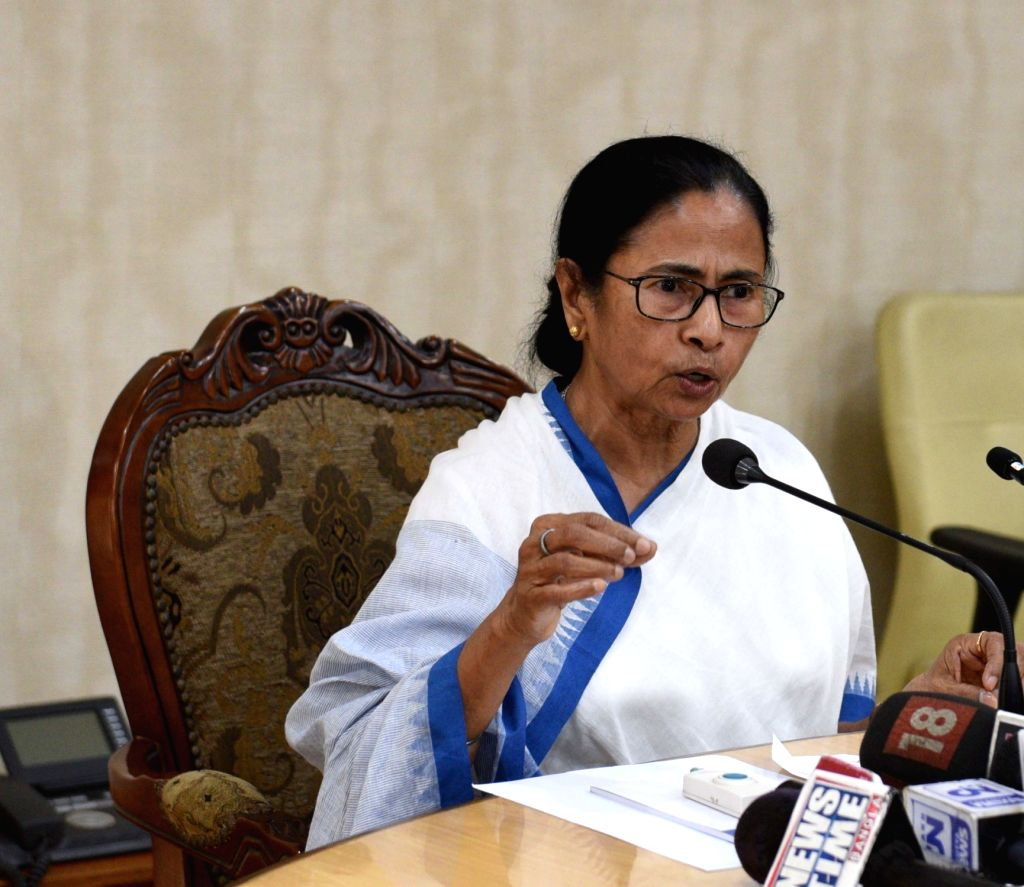 Howrah: West Bengal Chief Minister Mamata Banerjee addresses a press conference at Nabanna in Howrah on Feb 18, 2019. (Photo: IANS) - Mamata Banerjee