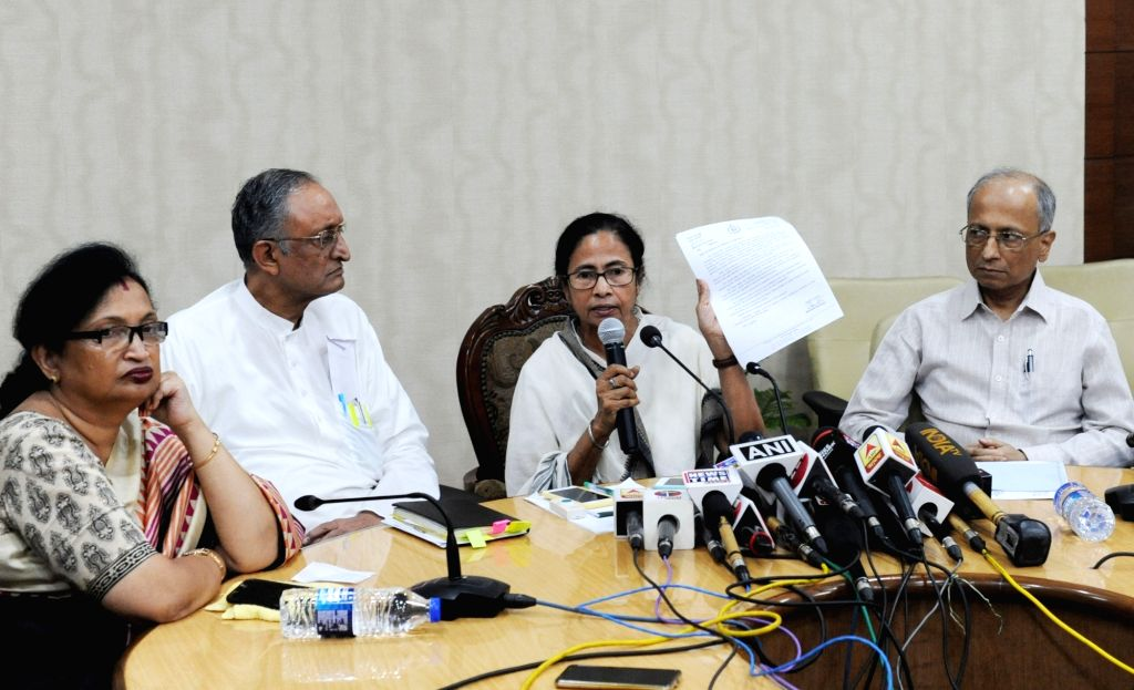Howrah: West Bengal Chief Minister Mamata Banerjee addresses a press conference at Nabanna, Howrah on June 15, 2019. (Photo: IANS) - Mamata Banerjee
