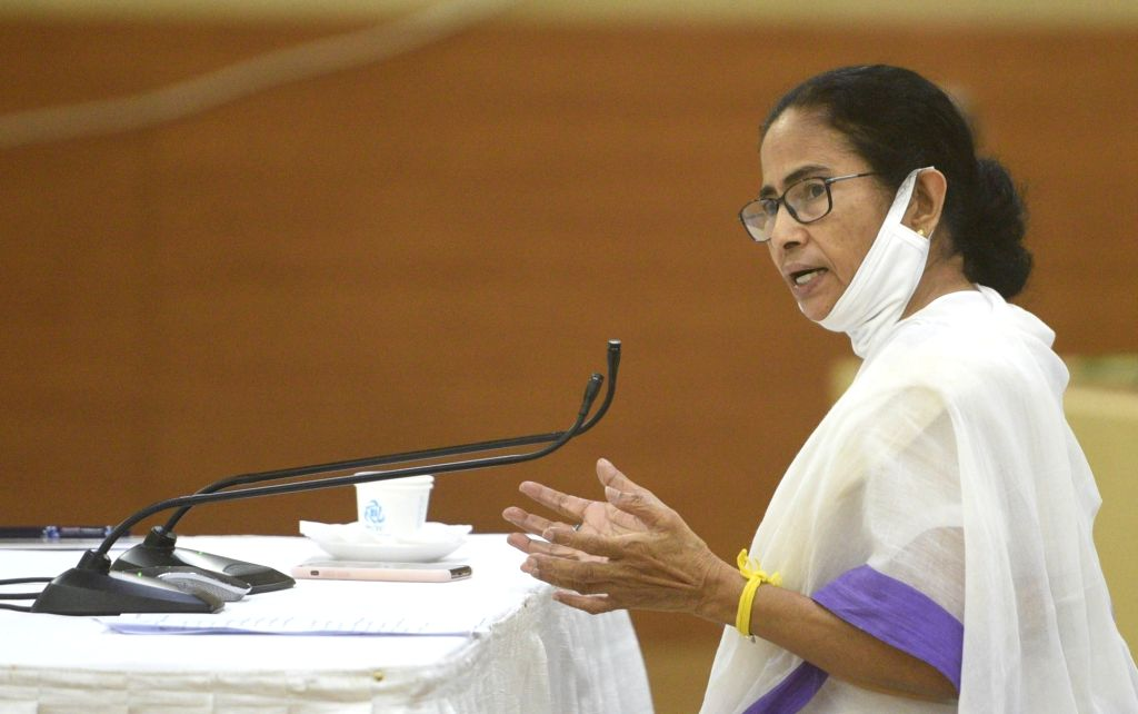 Howrah: West Bengal Chief Minister Mamata Banerjee addresses during a meeting over COVID-19 pandemic at Nabanna in Howrah during the extended nationwide lockdown imposed to mitigate the spread of coronavirus, on Apr 17, 2020. (Photo: IANS) - Mamata Banerjee