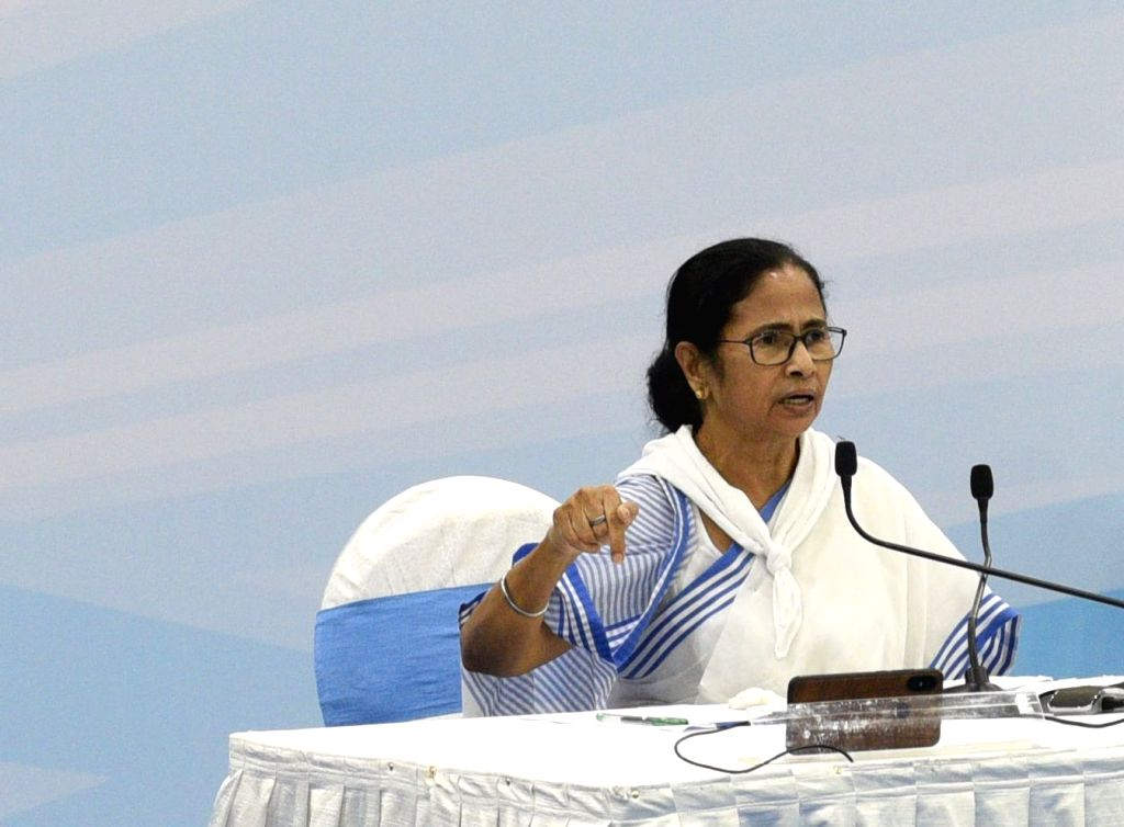Howrah: West Bengal Chief Minister Mamata Banerjee presides over a meeting with District Magistrates to review the situation in the state during the 21-day nationwide lockdown imposed to contain the spread of coronavirus, at Nabanna in Howrah on Marc - Mamata Banerjee