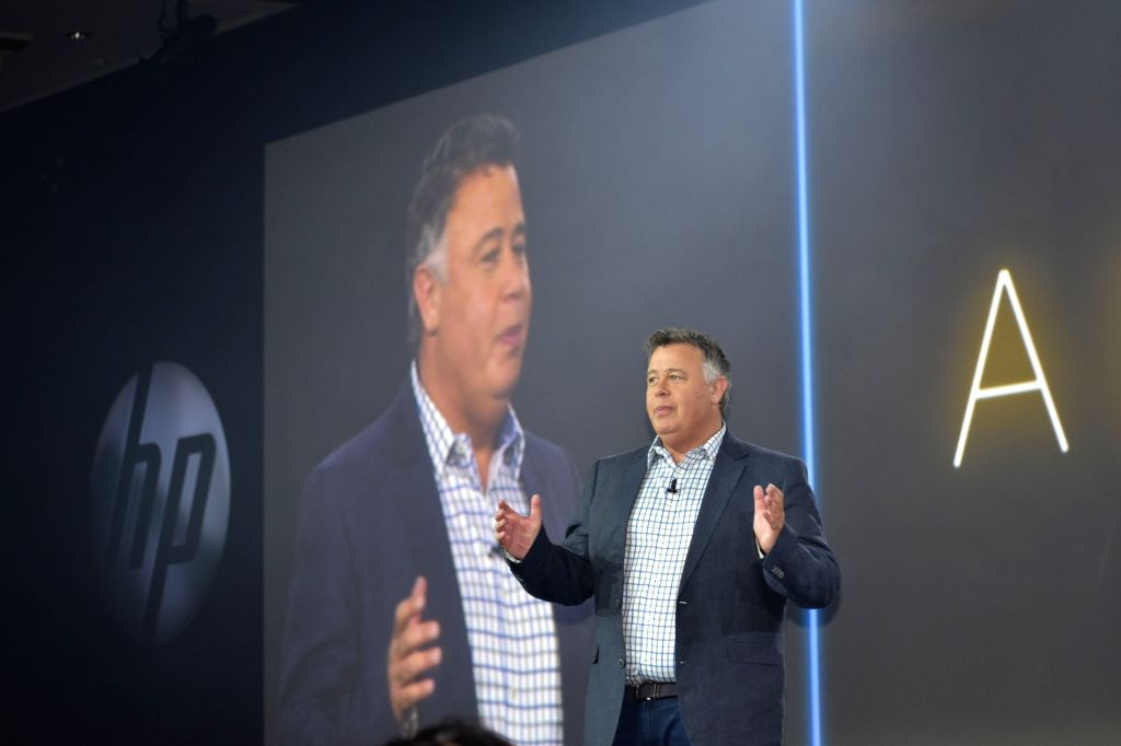 HP Inc President and CEO Dion Weisler addresses during the main session of HP Reinvent partner forum in Chicago, US on Sept 12, 2017.