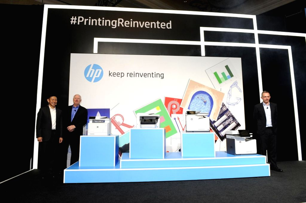 HP Inc President (imaging and printing business) Enrique Lores unveils a new range of business printers in Macau, China.