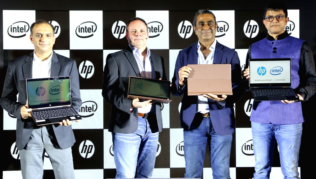 HP Spectre Always Connected PCs unveiled by (L-R) Anurag Arora, HP Inc. India, Joe Calandra, Intel Corporation, Vickram Bedi,  HP Inc. and Prakash Mallya, Intel India - Anurag Arora, Vickram Bedi and Prakash Mallya