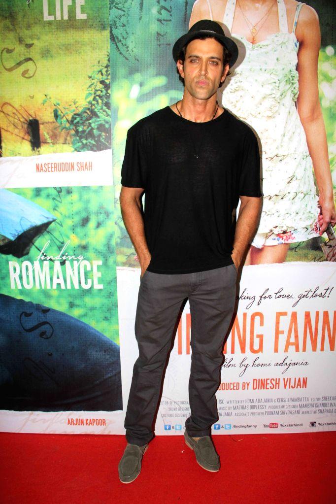 Hrithik Roshan during the screening of film Finding Fanny in Mumbai, on Sep. 01, 2014. - Hrithik Roshan