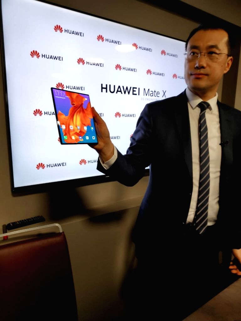 Huawei Mobile Handset Division President Kevin Ho unveils Mate X 5G foldable phone at the Mobile World Congress 2019 in Barcelona, Spain on Feb 24, 2019.