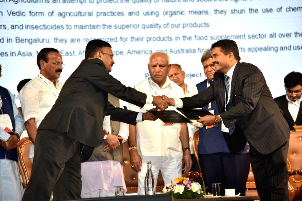 Hubli: Karnataka Chief Minister B.S. Yediyurappa inaugurating Invest Karnataka 2020 meet in Hubli, Karnataka on Feb 14, 2020. (Photo: IANS) - B.