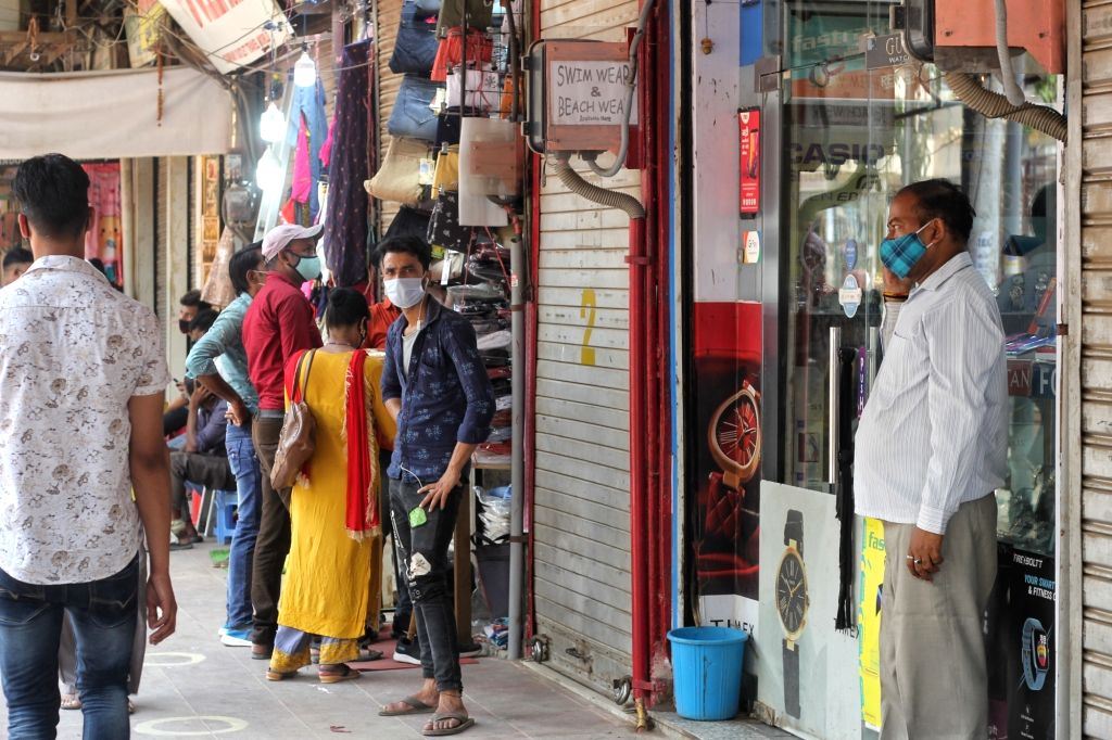 Huge crowd at Chandni Chowk market after the reopen of lockdown in New Delhi on Monday 07 June, 2021.