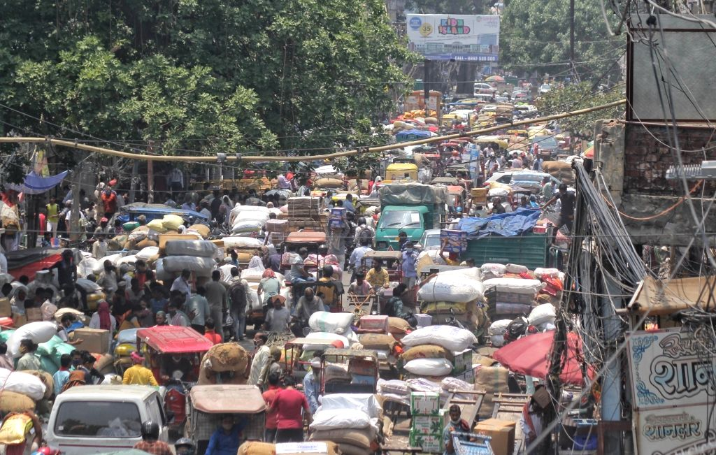 Huge crowd at Khari Baoli market after the reopen of lockdown in new Delhi on Monday 07 June, 2021.