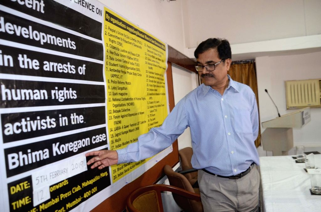 Human rights activist Feroze Mithiborwala at a press conference on recent developments in the arrests of human rights activists in the Bhima Koregaon case,  in Mumbai on Feb 5, 2019.