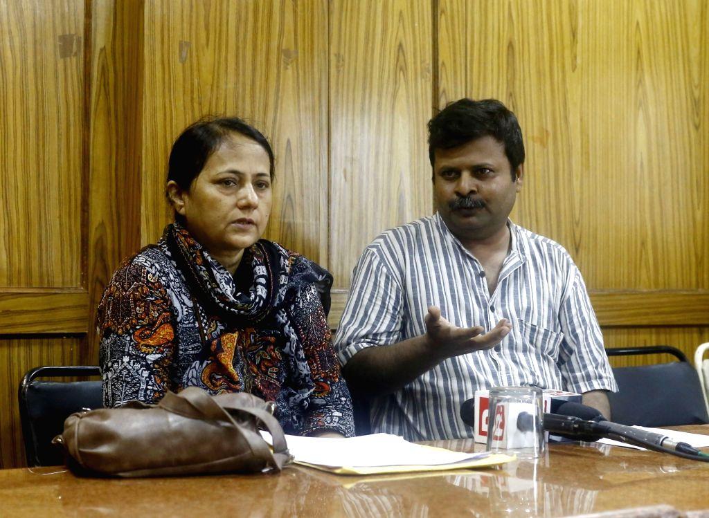 Human rights activists Fatima Shah and Zulfiqar Shah during a press conference regarding human rights violation in Pakistan's Sindh; in New Delhi on July 7, 2017. - Zulfiqar Shah