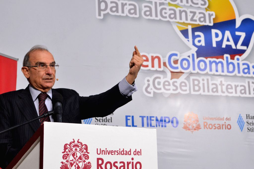 Humberto de la Calle, chief of the delegation of the Colombian Government in the peace talks with the Armed Revolutionary Forces of Colombia (FARC), delivers a speech ...