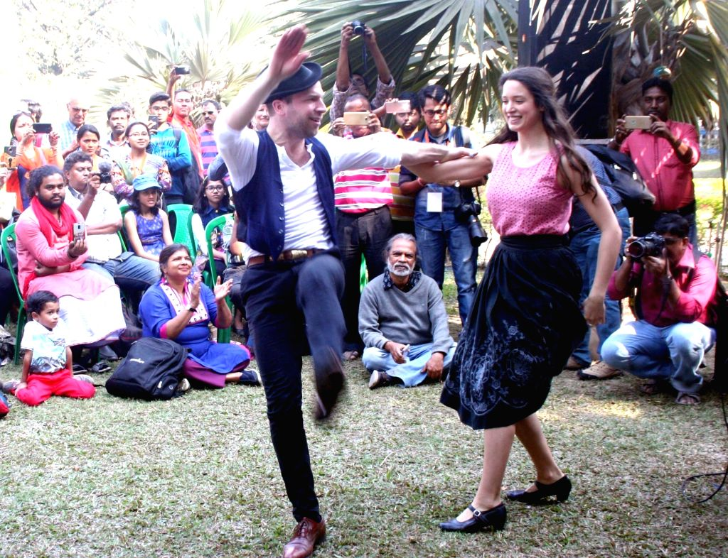 Hungarian artistes perform during Sur Jahan music festival in Kolkata on Feb 3, 2018.