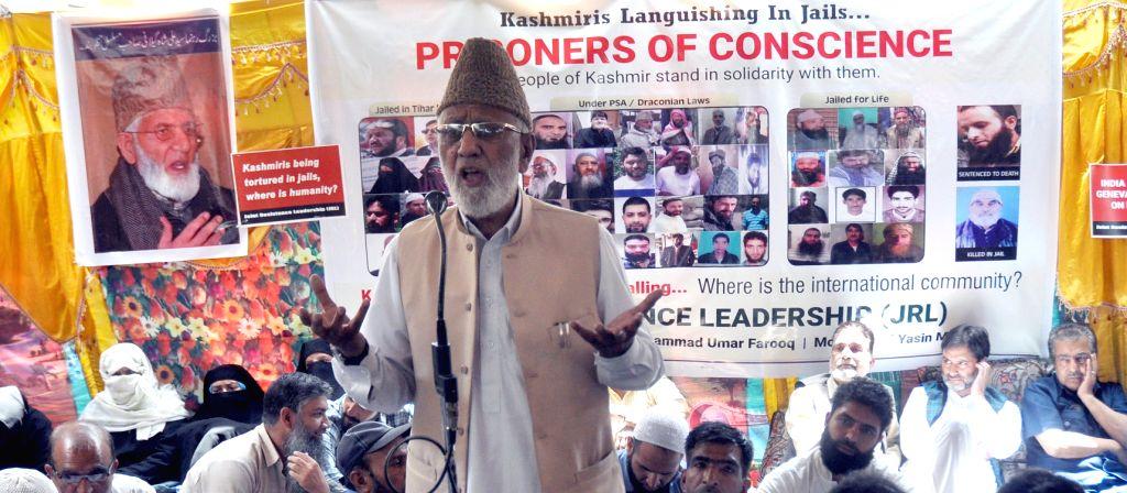 "Hurriyat (G) Conference Secretary-General, Ghulam Nabi Sumji addresses at a seminar on ""Prisoners of Conscience"" organised by Joint Resistance ership (JRL), in Srinagar on ... - Malik"