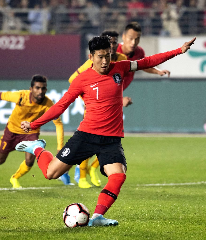 HWASEONG, Oct. 11, 2019 - South Korea's Son Heung Min (front) competes during the Group H match between South Korea and Sri Lanka at the FIFA World Cup Qatar 2022 qualifier at Hwaseong Sports Complex ...