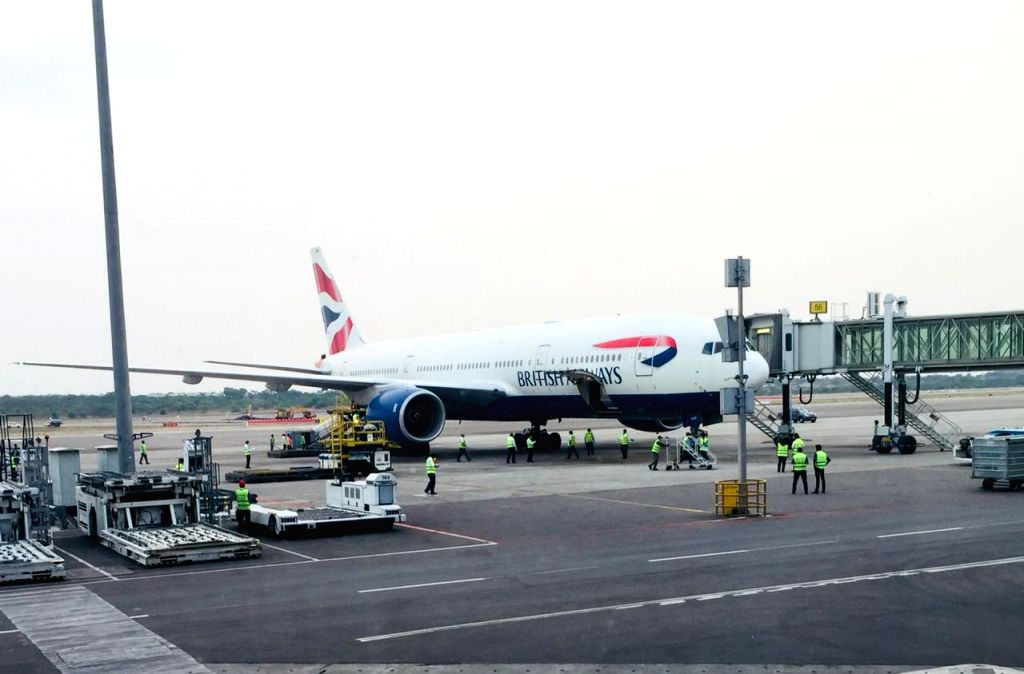 Hyderabad: A special passenger relief flight of British Airways arrive from Bahrain to repatriate UK nationals at Rajiv Gandhi International Airport in Hyderabad on April 17, 2020. All these passengers were serviced through the fully-sanitized Interi