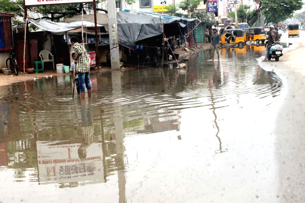 A view of water-logged streets of Hyderabad after rains on April 14, 2015.