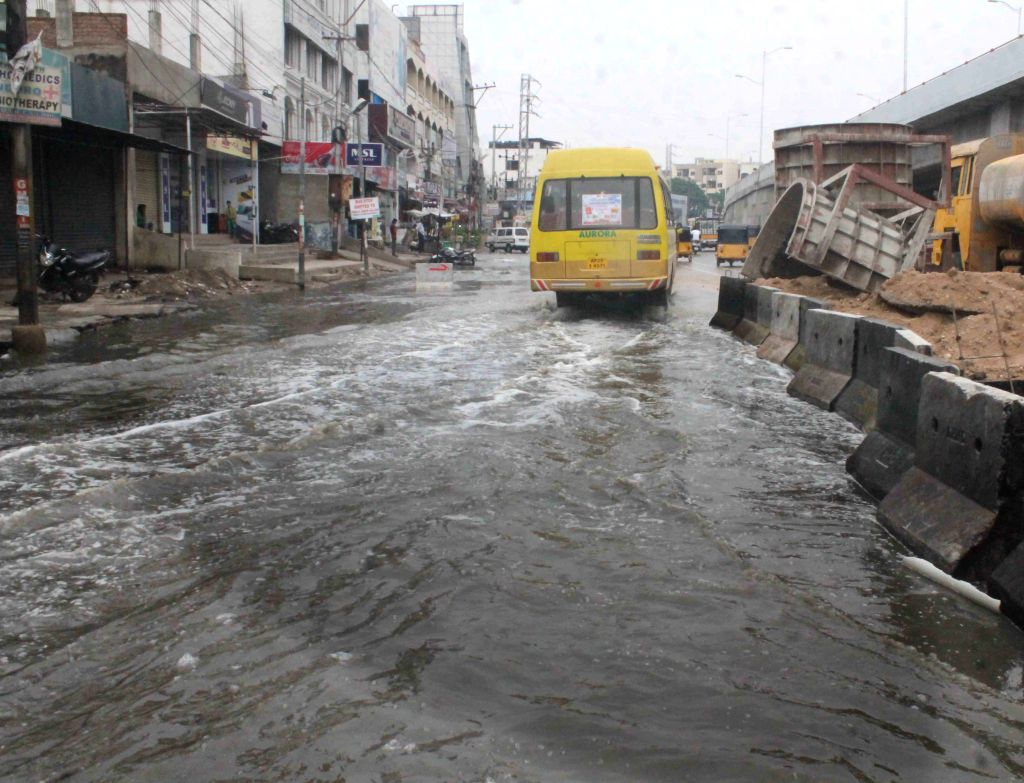 A view of waterlogged streets of Hyderabad after heavy rains on March 30, 2015.
