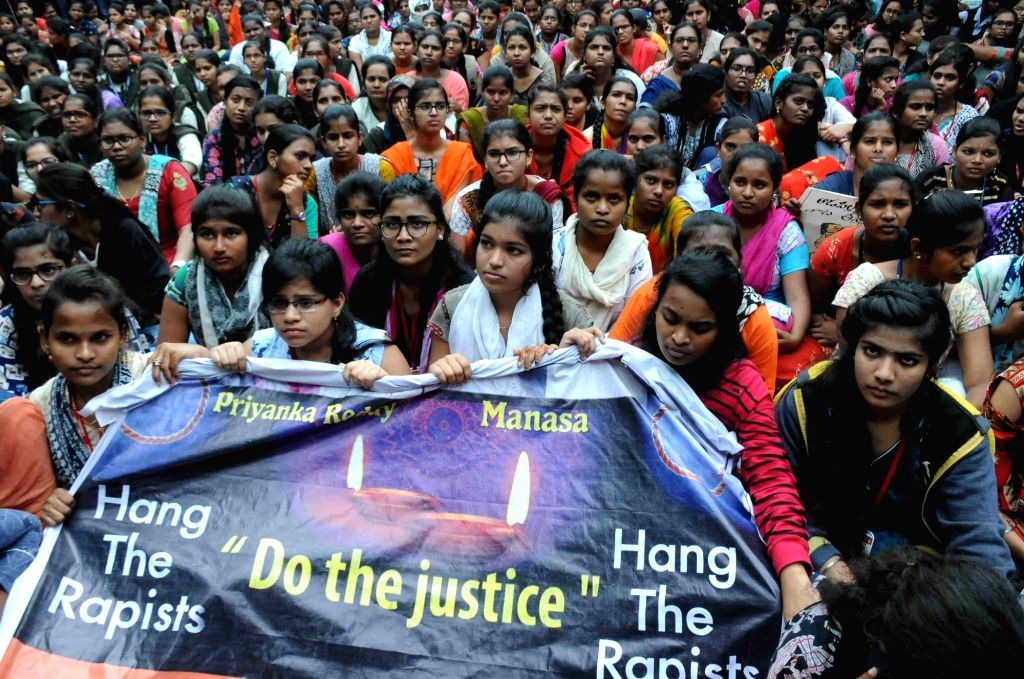 Hyderabad: ABVP activists protest against the gruesome gang rape and murder of a woman veterinarian in Hyderabad; demanding justice for the victim, in Hyderabad on Dec 2, 2019. (Photo: IANS)