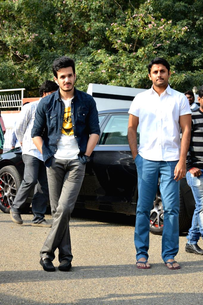 Actor Akkineni Nagarjuna's sons Akhil Akkineni during the launch of his debut in a yet-untitled Telugu film in Hyderabad on Dec 17, 2014. - Akkineni Nagarjun