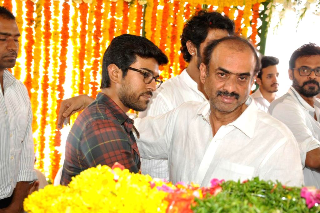Actor Ram Charan and film producer Daggubati Suresh Babu pay their last respect to multilingual Indian film producer Daggubati Ramanaidu (D Ramanaidu), who breathed his last on 18th Feb ... - Ram Charan