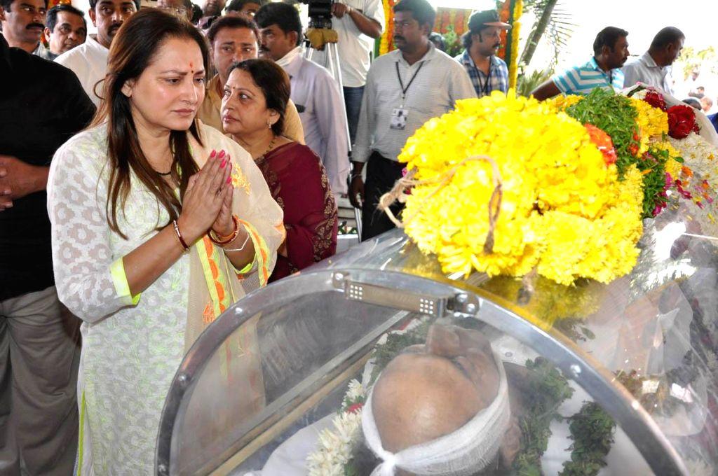 Actress and politician Jaya Prada pays her last respect to multilingual Indian film producer Daggubati Ramanaidu (D Ramanaidu), who breathed his last on 18th Feb 2015 , in Hyderabad on Feb ...