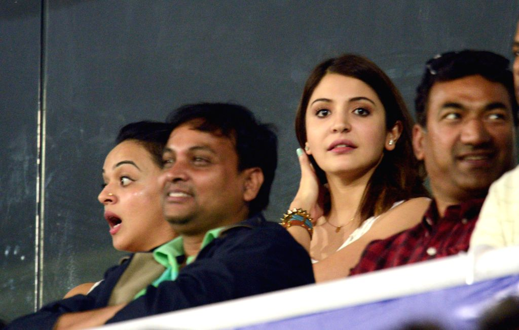 Actress Anushka Sharma during the 3rd ODI match between India and Sri Lanka at Rajiv Gandhi International Stadium in Hyderabad on Nov 9, 2014. - Anushka Sharma