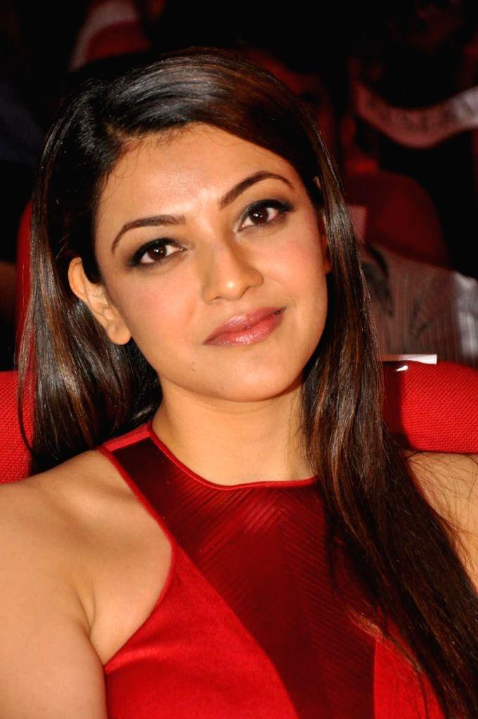 Actress Kajal acted Temper audio  release function held at Shilapa Kala Vedika in Hyderabad on 28th Jan 2015. - Kajal