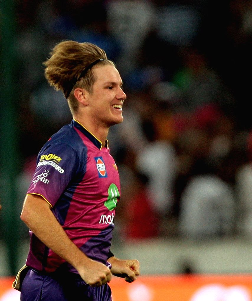Hyderabad: Adam Zampa of Rising Pune Supergiant celebrates fall of Kieron Pollard during the final match of IPL 2017 between Mumbai Indians and Rising Pune Supergiant at Rajiv Gandhi International Stadium in Hyderabad on May 21, 2017. (Photo:  IANS)