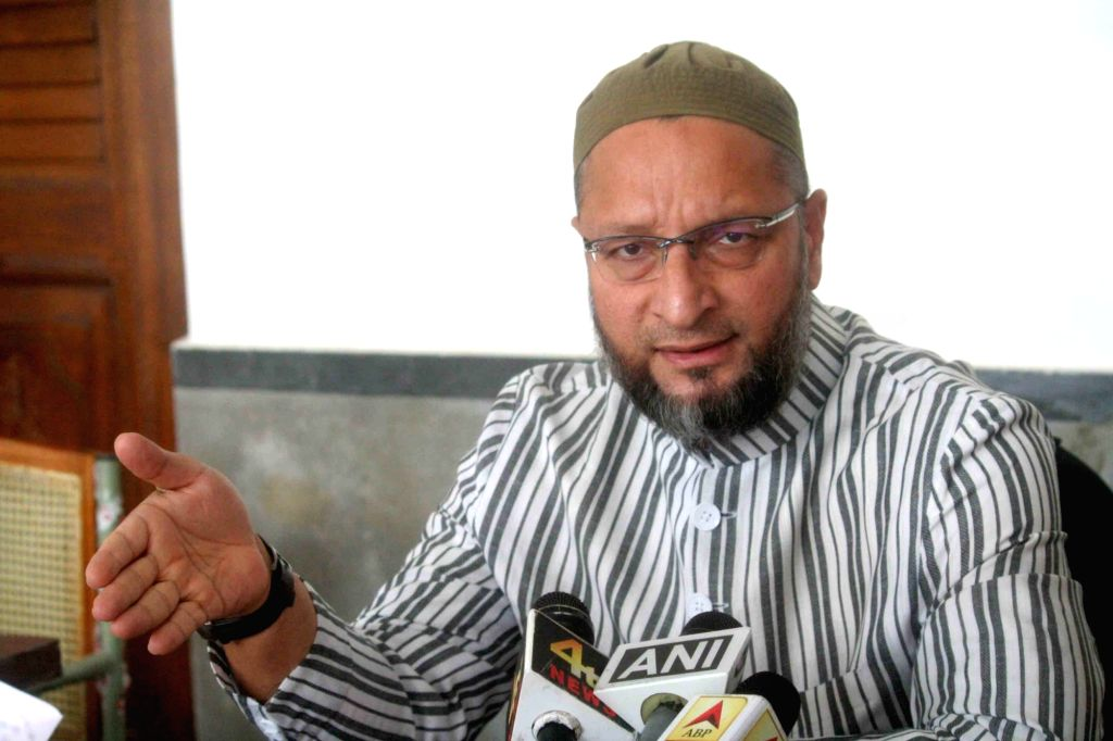 Hyderabad: AIMIM President Asaduddin Owaisi addresses a press conference in Hyderabad, on June 1, 2019. (Photo: IANS)