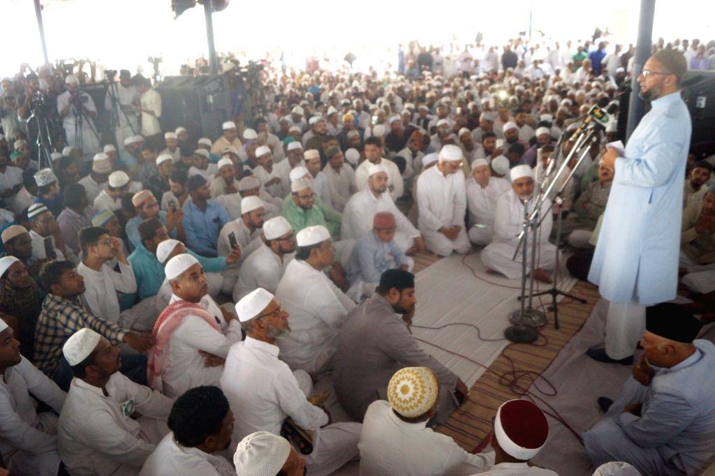 Hyderabad: AIMIM President Asaduddin Owaisi addresses after Ramadan's last Friday prayers at Mecca Masjid in Hyderabad, on May 31, 2019. (Photo: IANS)