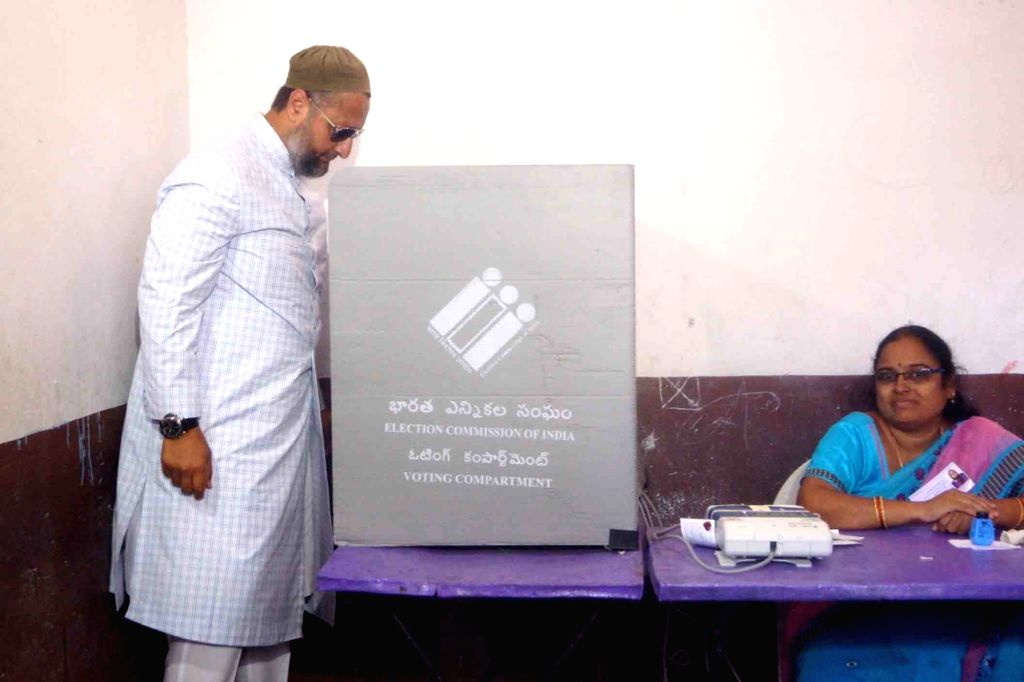 Hyderabad: All India Majlis-e-Ittehadul Muslimeen (AIMIM) President Asaduddin Owaisi, who is contesting for a fourth consecutive term from Hyderabad constituency, casts his vote for the first phase of 2019 Lok Sabha elections in Hyderabad, on April 1