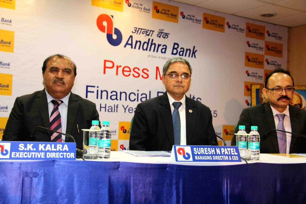 :Hyderabad: Andhra Bank MD and CEO Suresh N Patel (C) addresses a press conference in Hyderabad, on Nov 7, 2015. Also seen Andhra Bank executive director Satish Kumar Kalra. (Photo: IANS).