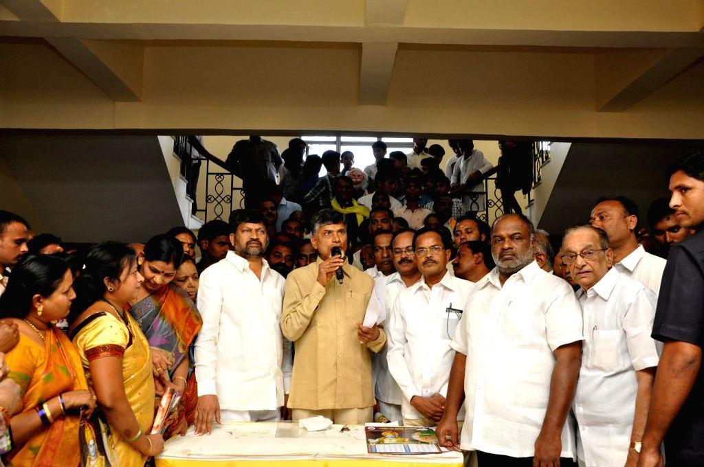 Andhra Pradesh Chief Minister N. Chandrababu Naidu during a programme organised to celebrate Christmas in Hyderabad on Dec 25, 2014. - N. Chandrababu Naidu