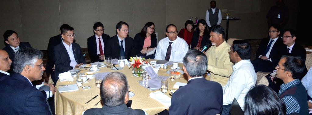 Andhra Pradesh Chief Minister N. Chandrababu Naidu during a meeting with the members of a Singapore delegation in Hyderabad, on Jan 13, 2015. - N. Chandrababu Naidu