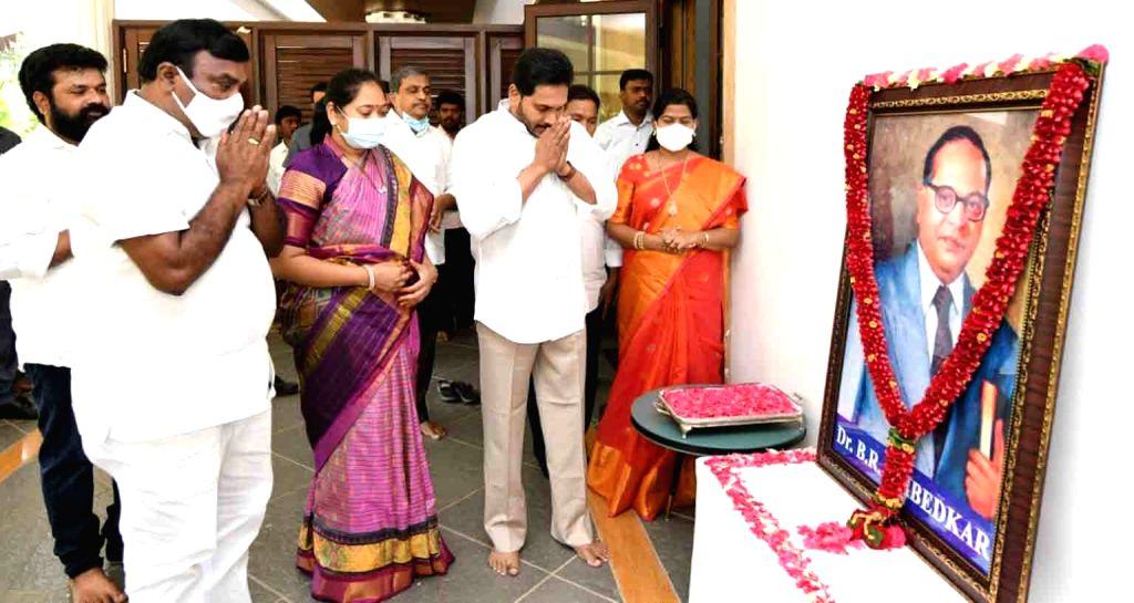 Hyderabad : Andhra Pradesh chief Minister YS jagan Mohan Reddy Garland  statue of Dr. B.R.Ambedkar??? on the 130th Birth Anniversary 14th april 14th April 2021. - Mohan Reddy Garland