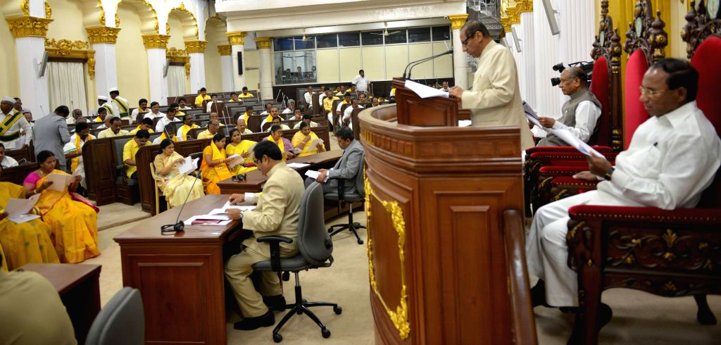 Andhra Pradesh Governor E.S.L. Nararsimhan addresses a joint session of the Andhra Legislative Assembly and the Andhra Legislative Council in Hyderabad, on March 7, 2015.