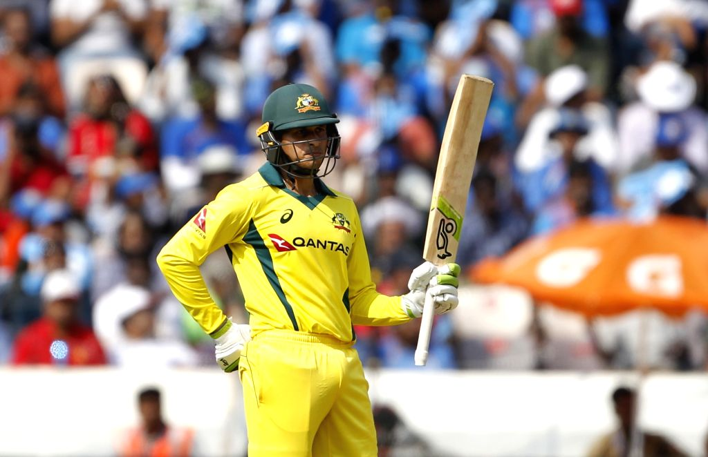 Hyderabad: Australia's Marcus Stoinis celebrates his half century during the first ODI match between India and Australia at Rajiv Gandhi International Stadium in Hyderabad on March 2, 2019. (Photo: Surjeet Yadav/IANS) - Surjeet Yadav