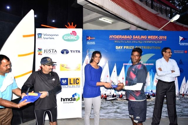 Hyderabad: Badminton player PV Sindhu during the multi class sailing championship at sailing annexe in Hussain Sagar lake; in Hyderabad on June 28, 2016.