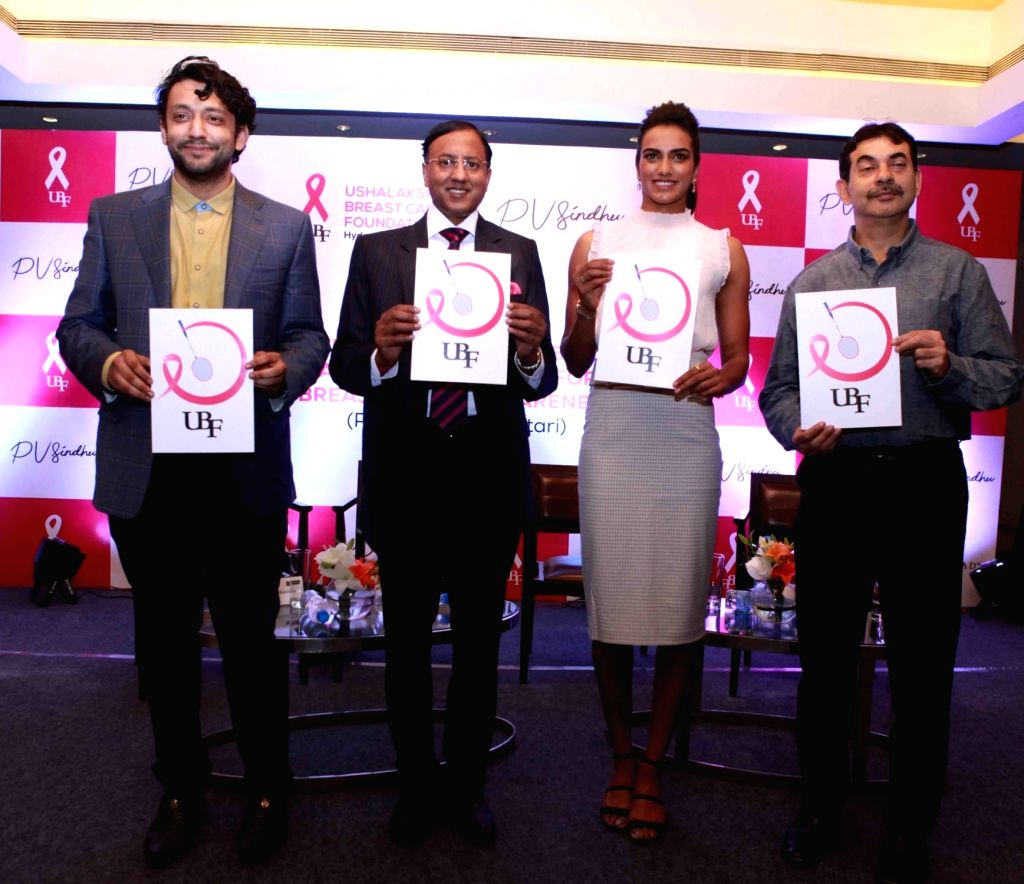 Hyderabad: Badminton World Champion P.V. Sindhu at the launch of of a first-of-its-kind campaign that uses augmented reality to raise awareness about Breast Cancer, in Hyderabad on Oct 7, 2019. (Photo: IANS)