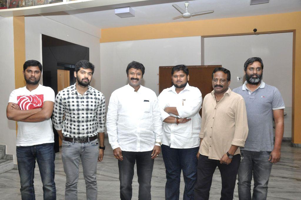 Balakrishna watched special screening of Tungabhadra movie at Prasad Labs in Hyderabad on Sunday (15th Mar) .