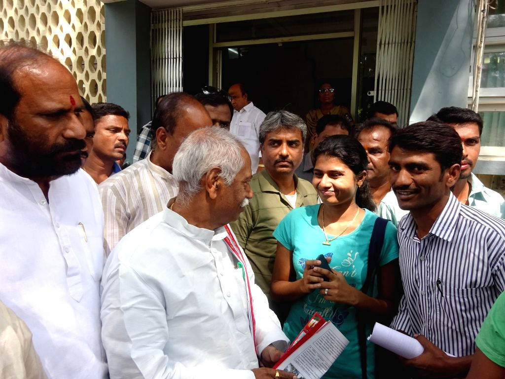 BJP leader Bandaru Dattatreya during his visit to English and Foreign Languages University in Hyderabad, on Nov 5, 2014.