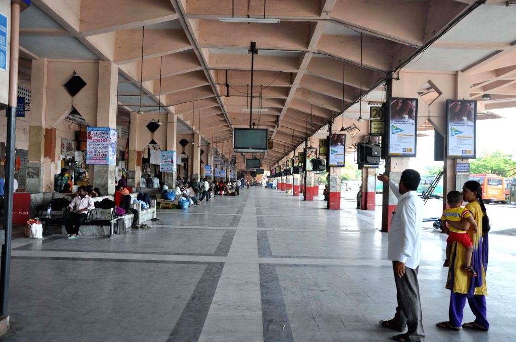 Hyderabad bus depot wears a deserted look  as Telangana Rashtra Samiti (TRS) calls for a bandh to protest against Centre's reported plan of merging 136 villages in seven mandals of Khammam with Andhra Pradesh, in Hyderabad on May 29, 2014. (Photo: IA