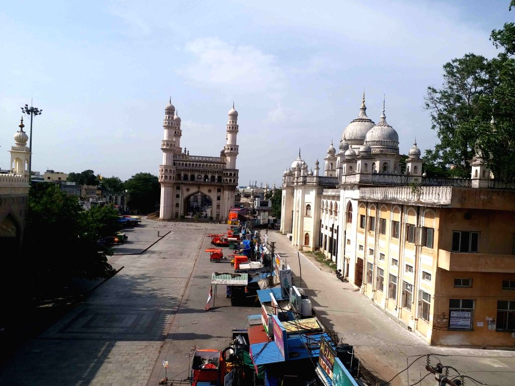 Hyderabad : Busiest Land Mark of Charminar  look  deserted  strict Implement  lockdown in Hyderabad on wednesday, 26 May, 2021.