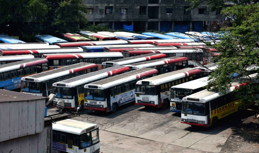 Hyderabad: Busses remain parked in depot during transport strike in Hyderabad on Oct 5, 2019. (Photo: IANS)