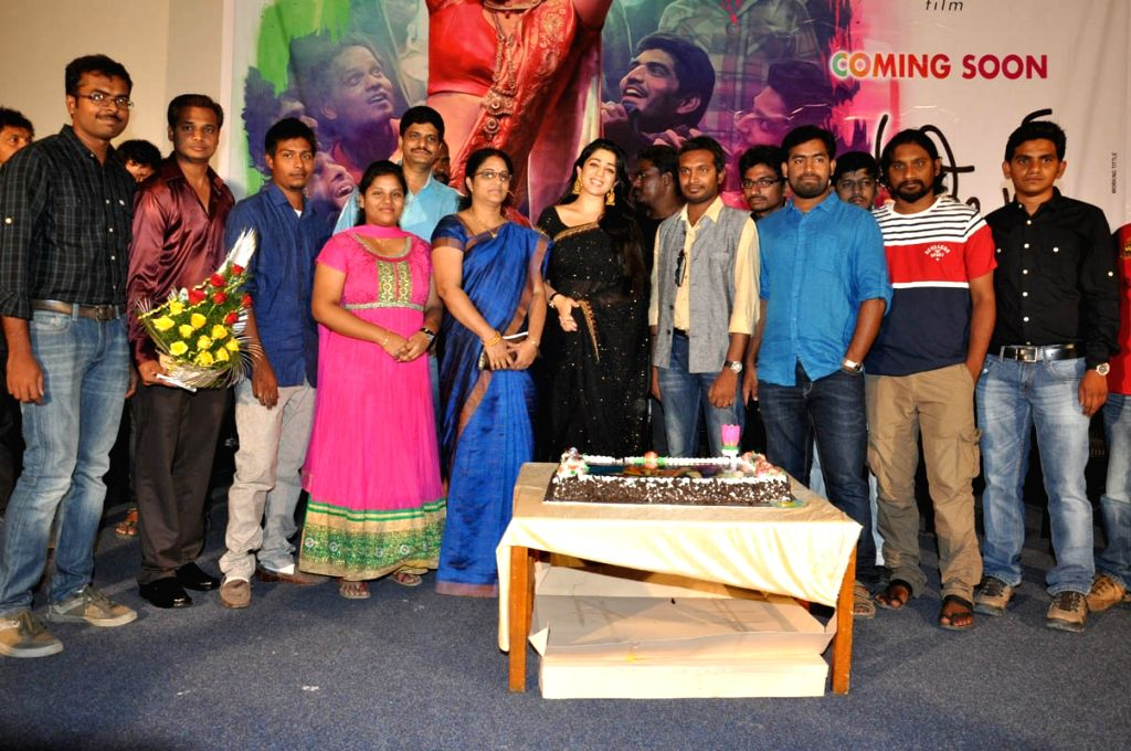 Charmee birthday celebrations held at Prasad Labs in Hyderabad.