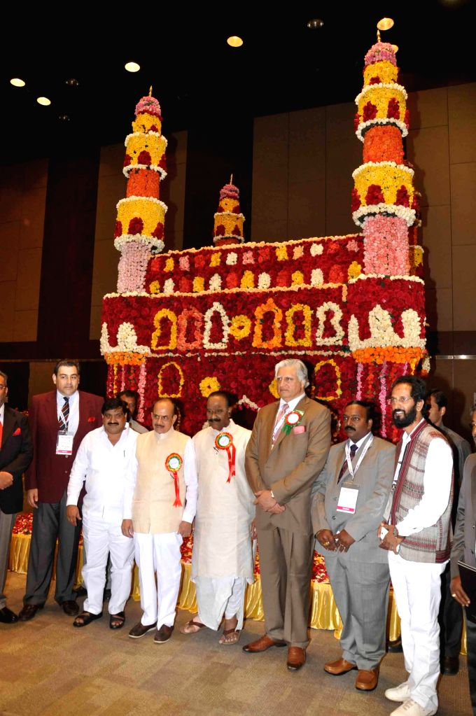 Charminar made of roses is on display at the 35th Annual Rose Show organised by Hyderabad Rose Society at Jubilee Hall in Hyderabad on Nov. 29, 2014.
