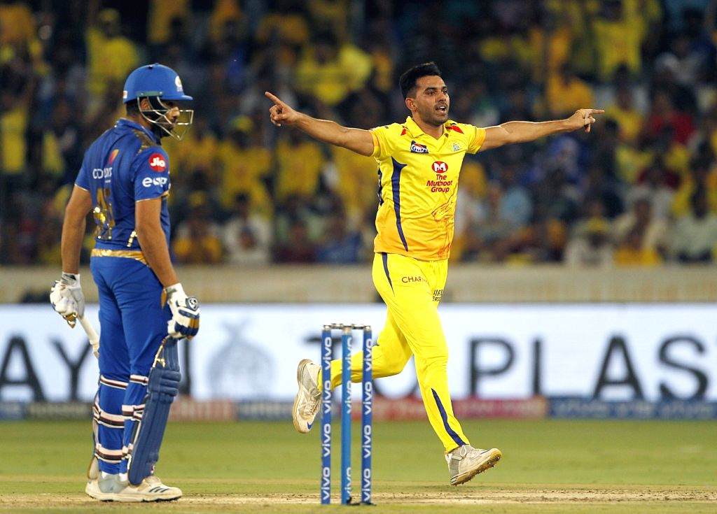 Hyderabad: Chennai Super Kings' Deepak Chahar celebrates fall of Rohit Sharma's wicket during the Final match of IPL 2019 between Chennai Super Kings and Mumbai Indians at Rajiv Gandhi International Stadium in Hyderabad, on May 12, 2019. (Photo: Surj - Rohit Sharma and Surjeet Yadav