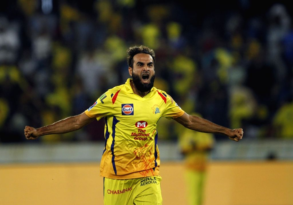 Hyderabad: Chennai Super Kings' Imran Tahir celebrates fall of Ishan Kishan's wicket during the Final match of IPL 2019 between Chennai Super Kings and Mumbai Indians at Rajiv Gandhi International Stadium in Hyderabad, on May 12, 2019. (Photo: Surjee - Surjeet Yadav
