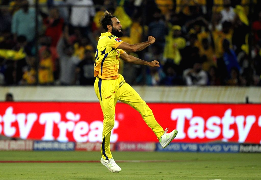 Hyderabad: Chennai Super Kings' Imran Tahir celebrates fall of Suryakumar Yadav's wicket during the Final match of IPL 2019 between Chennai Super Kings and Mumbai Indians at Rajiv Gandhi International Stadium in Hyderabad, on May 12, 2019. (Photo: Su - Suryakumar Yadav and Surjeet Yadav